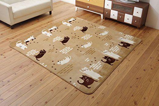 Amazon.co.jp : イケヒコ ラグ カーペット 2畳 洗える 猫柄 ネコ柄 ねこ柄 フランネル 『ふわねこ』 ベージュ 約185×185cm ホットカーペット対応 ♯5635709 : ホーム&キッチン
