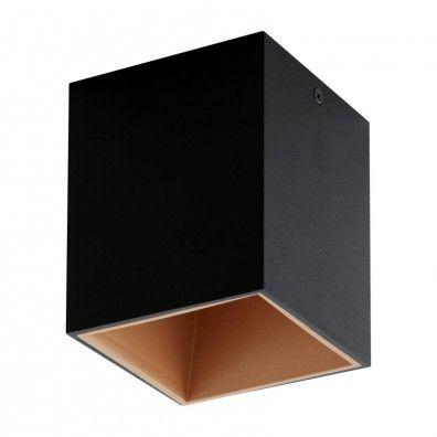 EGLO POLASSO LED Aufbauleuchte, eckig, 100mm, schwarz, kupfer