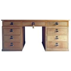 Fabulous Antique Large Oak Art Deco Twin Pedestal Desk, 1930s