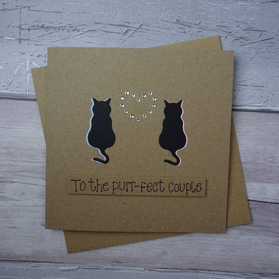 Purr-fect cat couple handmade card: Engagement Happy