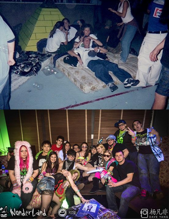 Cuddle puddles, then vs. now: | Rave Kids In The '90s Vs. Rave Kids Today