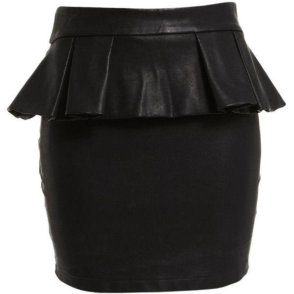 Bardot Leatherette Peplum Skirt ($52) ❤ liked on Polyvore