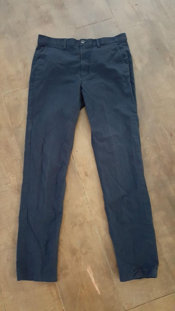 H&M Conscious Collection Pants Size 33R Navy Blue Pencil Casual Khaki Slim #HMConscious #KhakisChinos
