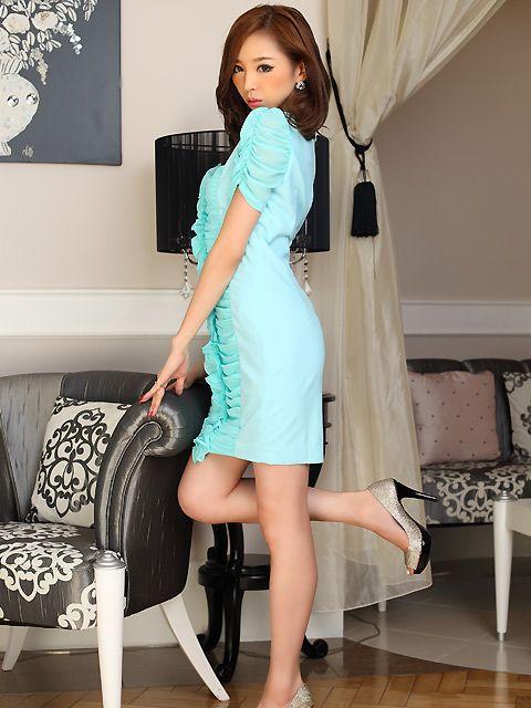 【楽天市場】山崎みどり 着用 ドレス シャーリング フリル ミニドレス ワンピース【ネオンカラー