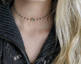 14 k oro opale rosa riempito Moonstone Choker Dainty collane