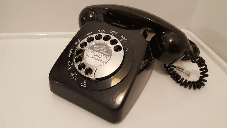 Original Vintage Retro 1970's GPO 746 Rotary Dial Black Telephone *Restored*