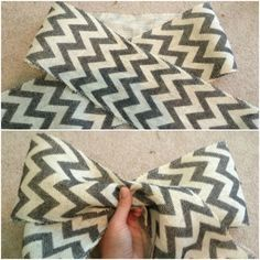 How to make a bow: Lay your ribbon or burlap on the floor and cross the two as shown in the top photo. Then, with a piece of floral wire cut and ready, pinch the center of the ribbon to form a bow and secure with the wire.