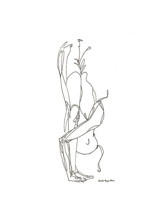 Yoga art print forward fold by LoveHeartsArt on Etsy, $20.00