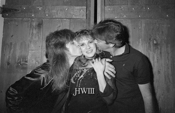 Stevie ~ ღ☆❤☆ღ ~ getting smooched by two guys whose names I can't remember; phot taken by Stevie's friend and celebrity photographer, Herbert W. Worthington 111
