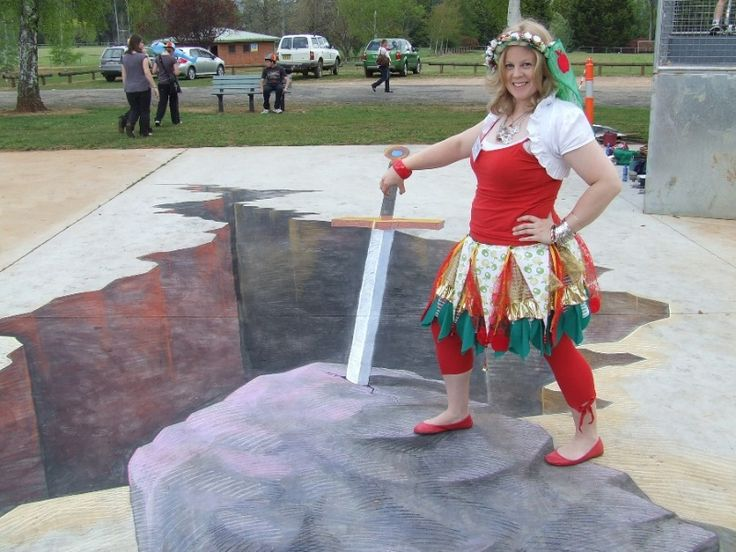 3D chalk art, Excalibur, hole in the ground, Batlow Apple Blossom Festival by Rudy Kistler