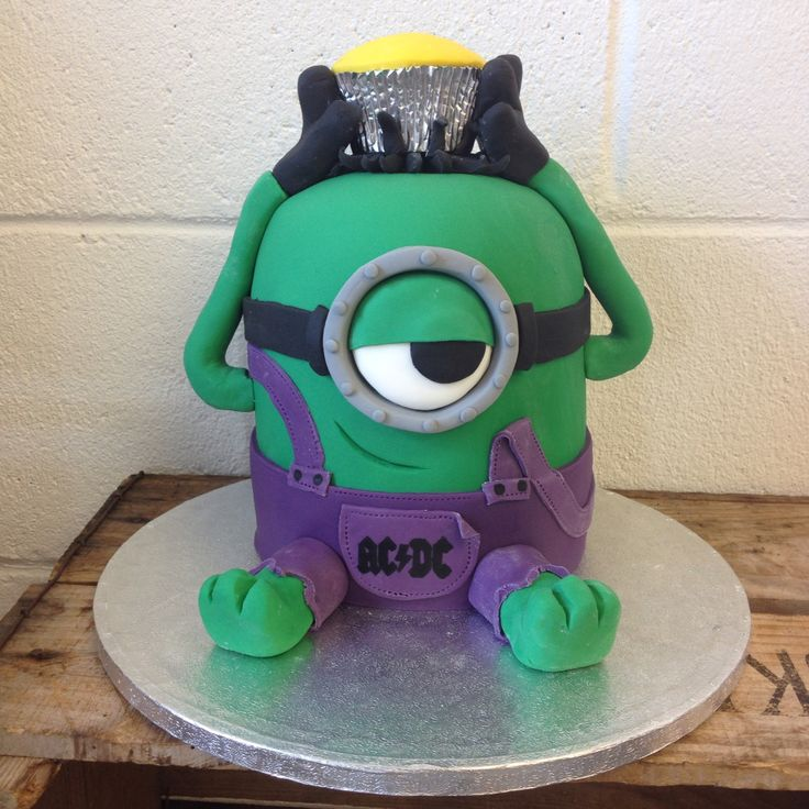 A v special birthday cake for a minion, hulk and ACDC loving 7yr old!!