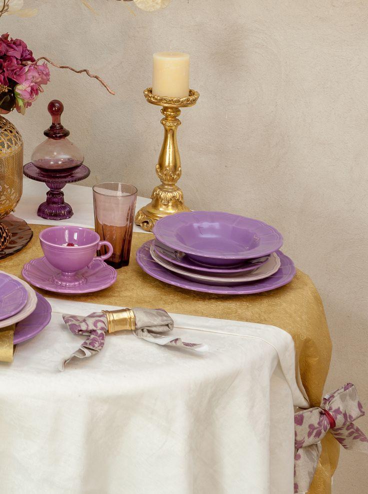 Golden Decorations - Candle Holders, Napkin Rings, Purple Plum Vintage Plate Sets