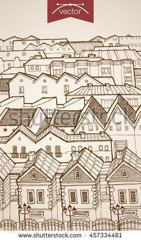 Engraving vintage hand drawn vector city roofs to horizon. Pencil Sketch architecture illustration.