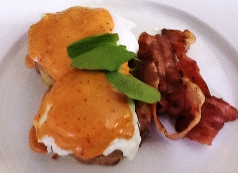 Bittersweet Chef Beef Recipes - Corned beef hash browns topped with poached eggs and tomato hollandaise sauce.