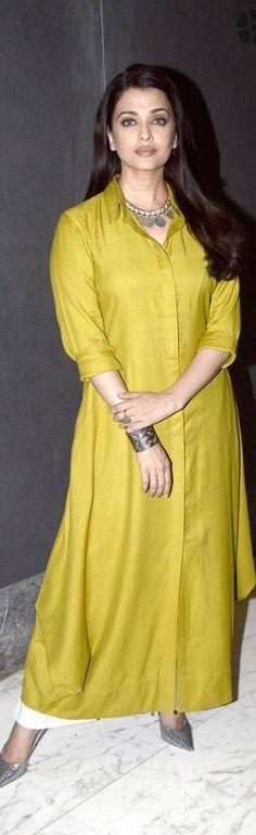 """Pinterest: @Revathy Bose"" ༻♡ღღ ~kurti Inspirations╭✧❤"" Aishwarya in a elegant kurta"