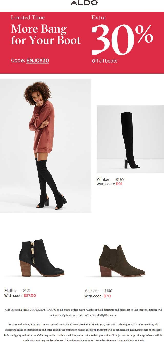 Pinned March 7th: Extra 30% off boots at #Aldo or online via promo code ENJOY30 #TheCouponsApp