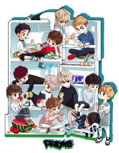 keke i wouldn't mind seeing EXO in my fridge~ keke i wanna eat those cuties up~ <3 <3 keke
