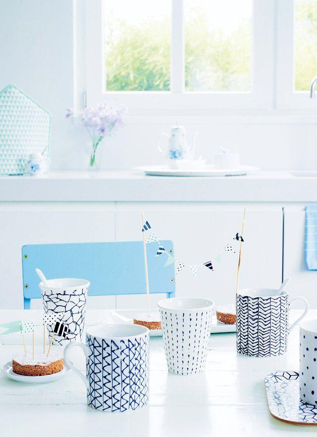 DIY party mugs #cup - Maak zelf deze vrolijke #feestbekers #feest #mokken Kijk op www.101woonideeen.nl
