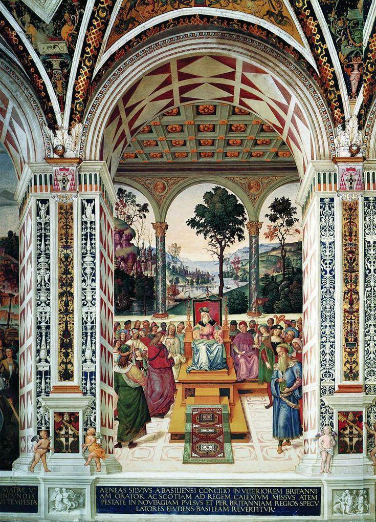 Библиотека Пикколомини. Сиена. Италия. Пикколомини в роли посла у короля Шотландии Джеймса I.