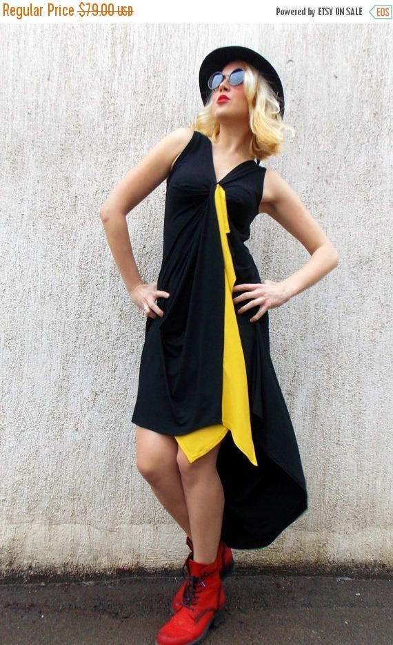 SUN SALE 25% OFF Maxi Black Dress / Asymmetrical Dress with Mustard bordure Tdk104