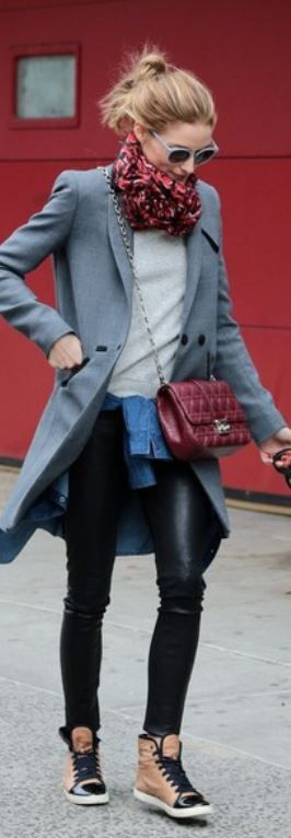 Who made Olivia Palermos gray coat, red quilted handbag, sunglasses, and tan sneakers?