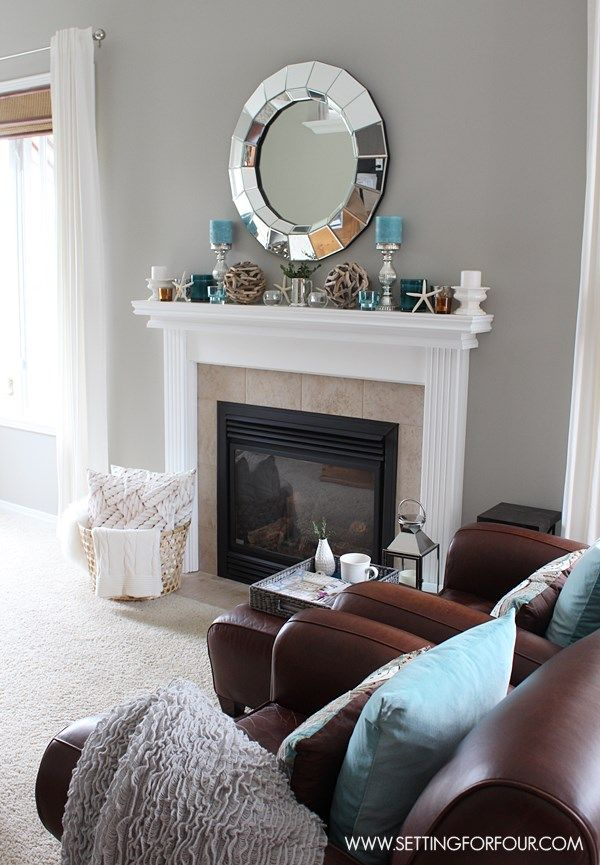Mantel Decor Ideas - get lots of interior decor tips on creating a beautiful layered decorated mantel!