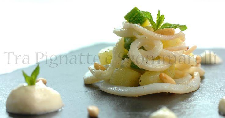 Piccola insalata di calamari, zucchine romanesche, patate e pinoli tostati al sale, con maionese leggera allo zenzero   Tra Pignatte e Sgommarelli