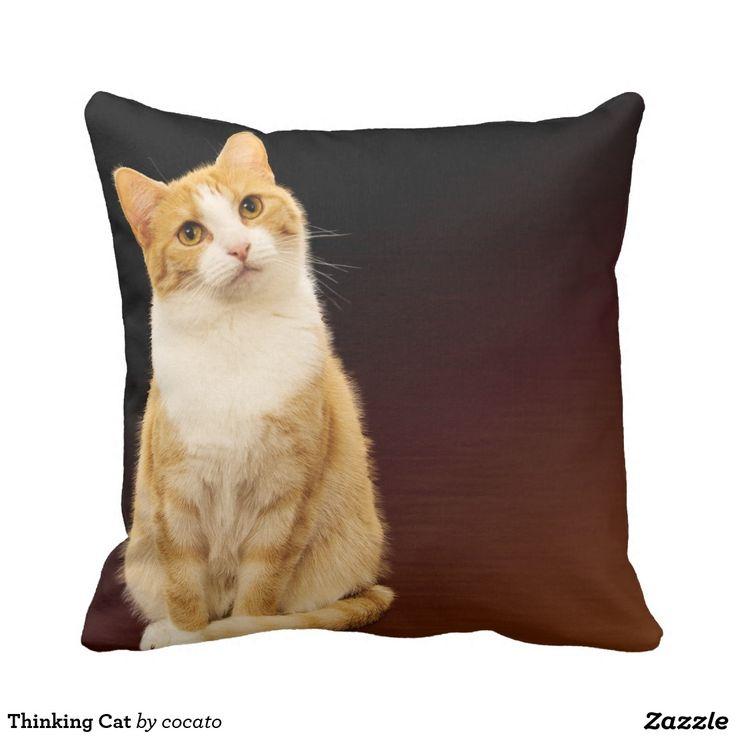 Thinking Cat Throw Pillow