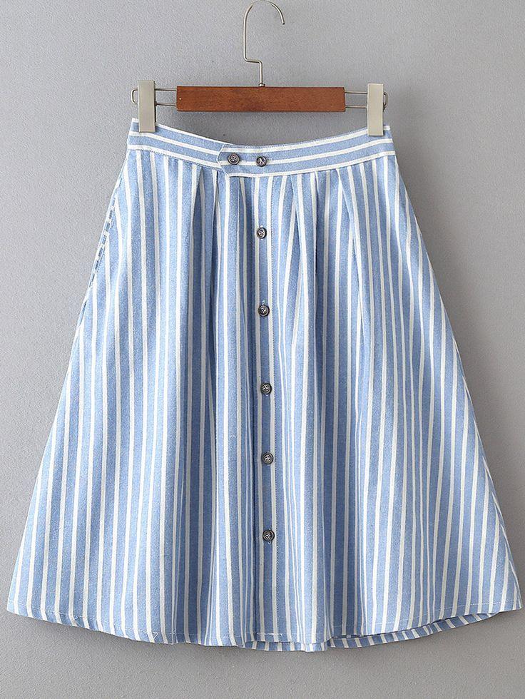falda rayas verticales una fila de botón línea A-Spanish SheIn(Sheinside)