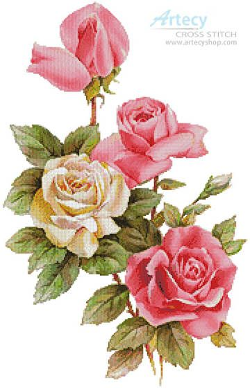 Pink and Yellow Roses 2 - cross stitch pattern designed by Tereena Clarke. Category: Roses.