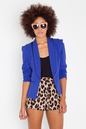 cobalt blazer,black, & leopard shorts (pencil skirt)