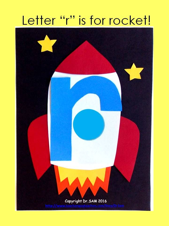 """Letter """"r"""" is for rocket! Glue a picture of a student's face in the window and see how excited your kids will be to see themselves as astronauts!"""