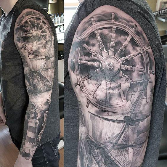 Almost done on this nautical sleeve added this ship wheel today. #inkjecta#fliteV2#truegrips#cheyennetattooequipment#criticaltattoo#stencilstuf#bushidotattoo#rileyhogantattoos#eternalink#tattoo#blackandgreytattoo#yyc#tattoolifemagazine@inkedmag#toptattooartist#rpgclick@fkirons@inkjecta#skinart_mag#tattoorevuemag#bnginksociety#nauticaltattoo by rileyhogantattoos