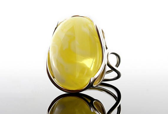Sterling Silver Baltic Amber Ring, Adjustable Citrine Ring ,Gemstone Ring, Citrine Ring, Citrine Ring With Silver, Citrine Gemstone Ring