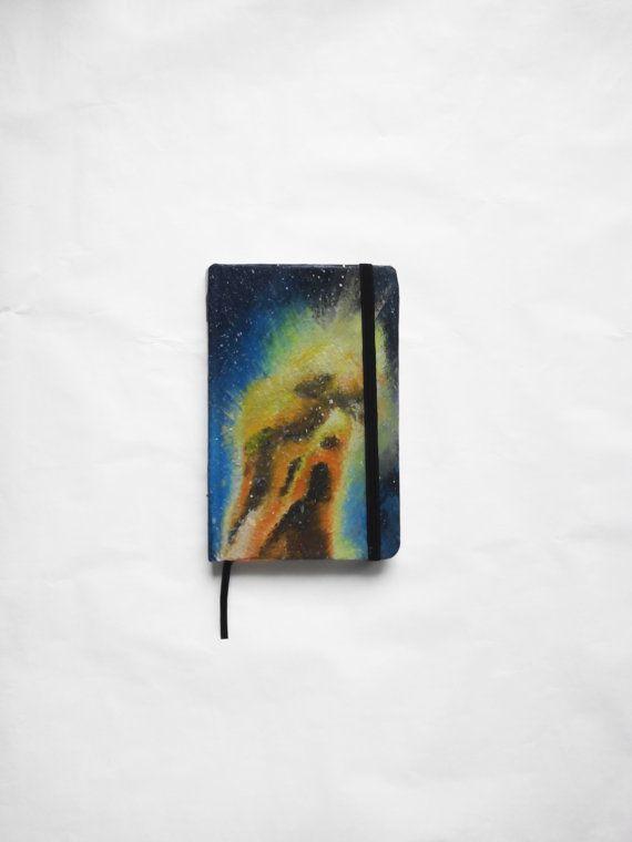Original handmade notebook with a painting of a galaxy. #original #notebook #agenda #journal #galaxy #cosmos #boho #bohostyle #stars #hipster #small #acrylic #painting #handmade