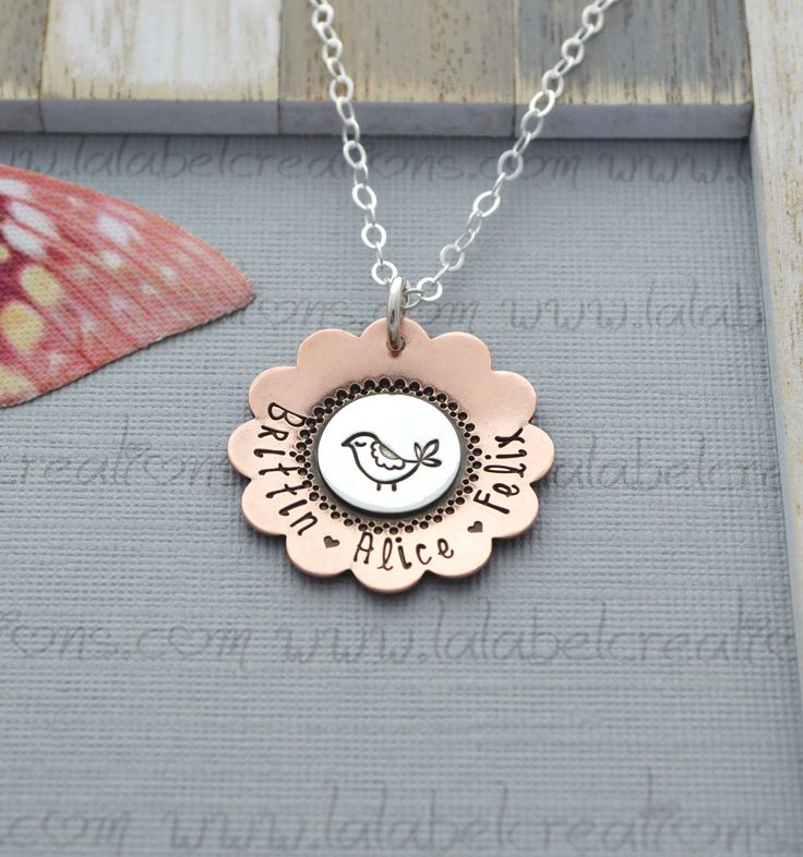 Mama Bird Necklace, Hand Stamped Necklace, Personalized Necklace, Mommy Necklace, Kids Name Necklace, Personalized Jewelry for Mom by LalabelCreations on Etsy https://www.etsy.com/listing/158462878/mama-bird-necklace-hand-stamped-necklace