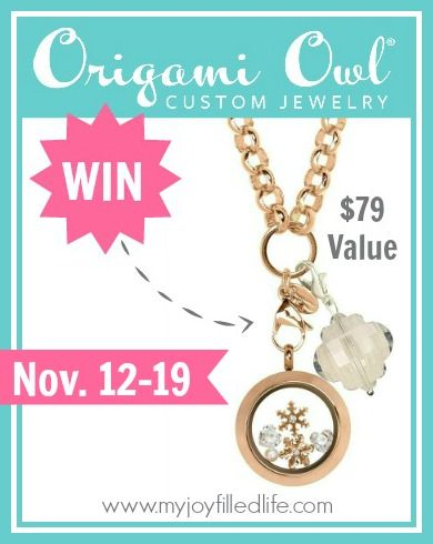 Origami Owl Giveaway -  Win an Origami Owl necklace that includes 1 Medium Rose Gold Living Locket, 1 18″ Rose Rolo Chain, 1 Clear Quatrefoil Dangle, and 5 charms