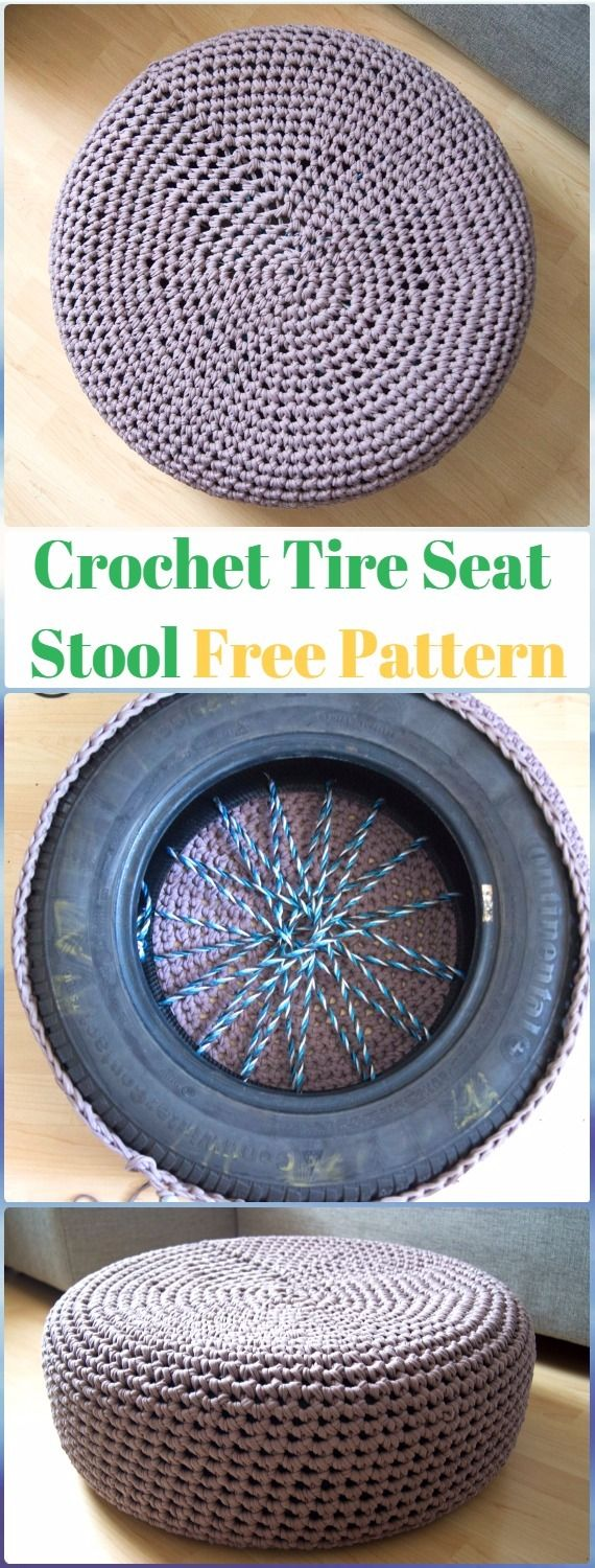 DIY Crochet Tire Seat Stool Free Pattern