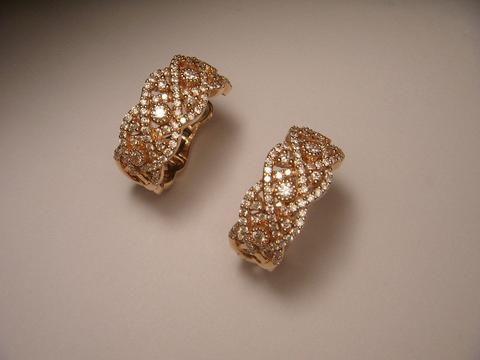 Magnificent 14K Pink Rose Gold Diamond Woven Hoop Earrings Hoops
