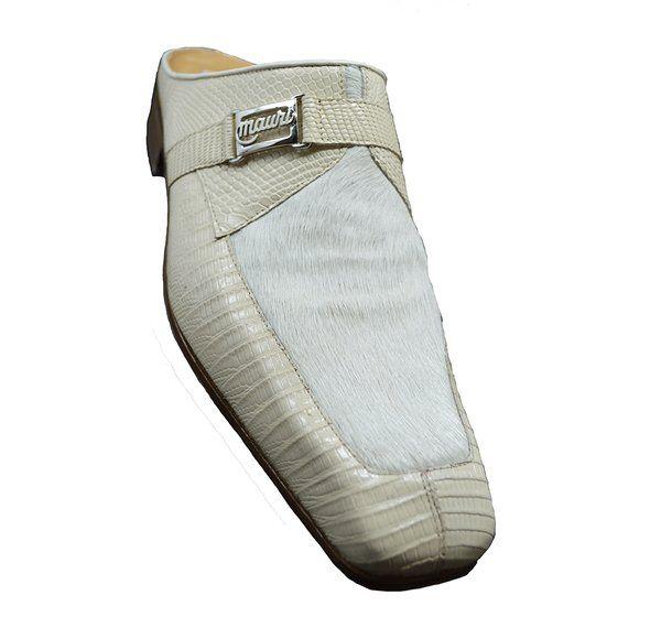 Mauri 4653 Cream Lizard & Pony Half Shoe
