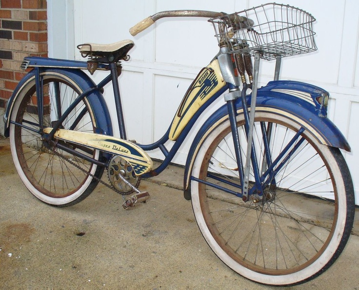 Vintage 1950s Monark Super Deluxe Blue White Ladies Bicycle