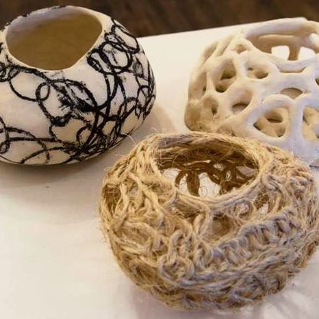 'the weave' three piece set  Manifestations of process. #ceramic#sculpture#fibreart#art#basketmaking#handmade#