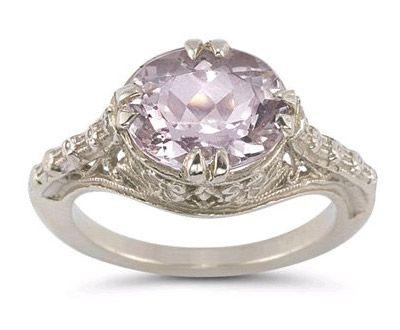 Vintage Rose Kunzite Ring in .925 Sterling Silver ►► http://www.gemstoneslist.com/jewelry/kunzite-rings.html?i=p
