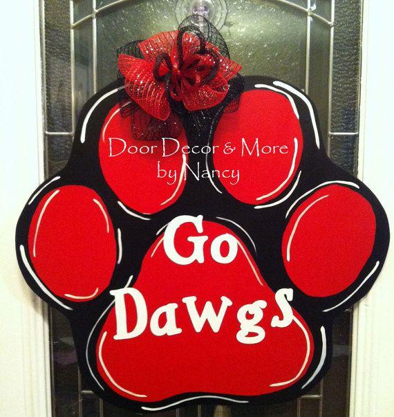"University of Georgia Wood Paw Door Hanger ""Go Dawgs"" on Etsy, $40.00"