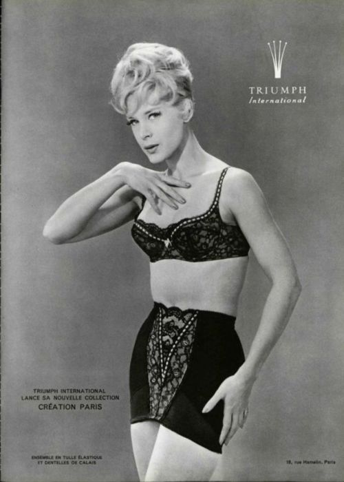 A 1960's black lace bra and girdle! #Triumph #lingerie