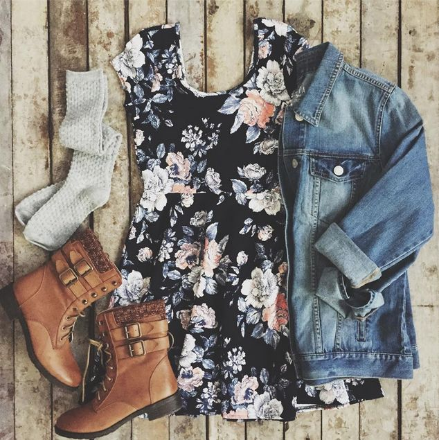 Floral Cap-Sleeve Dress, Denim Jacket and Braided Booties from Aeropostale. #teengirlfashion #springfashion #ootd