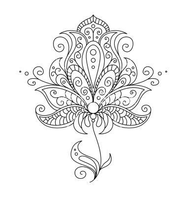 Dainty black and white floral element vector by Seamartini on VectorStock®