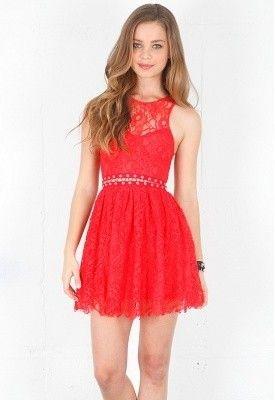 vestidos rojos cortos de encaje