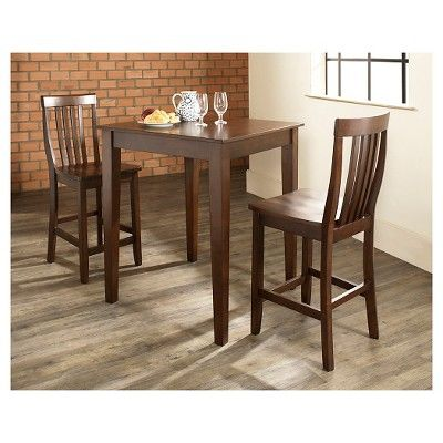 3 Piece Pub Dining Set with Tapered Leg and School House Stools - Vintage Mahogany (Brown) Finish - Crosley