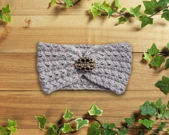 Knitting Headband Ear Warmer Gray Cable headband от LoveKnittings